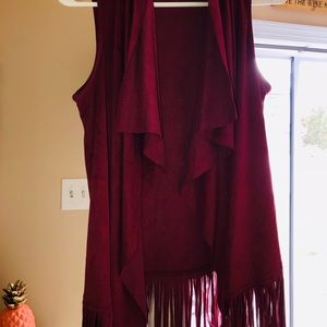 Wine faux suede-like fringe vest
